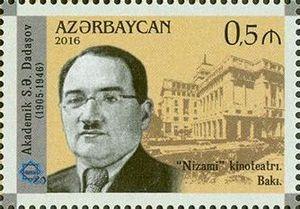 "Sadig Dadashov - Azerbaijan postage stamp portraying Sadiq Dadashov and the ""Nizami"" cinema in Baku"
