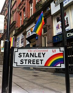 Rainbow street sign at Liverpool gay quarter
