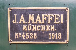 Maffei (company) - J. A. Maffei worksplate on Bavarian S 3/6 No. 3673 (later 18 478)