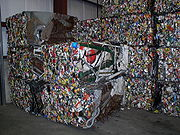 Steel crushed and baled for recycling