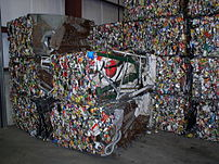 Steel crushed and baled for recycling in a rec...