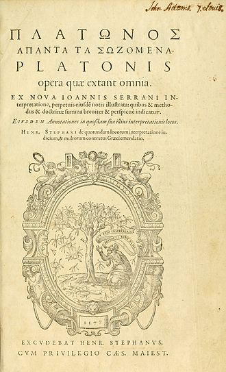 Jean de Serres - Plato's Dialogues were translated in 1578 by Jean de Serres and edited by Henri Estienne, image of copy owned by John Adams (1735 –  1826), second President of the United States