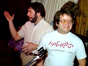 Andy Hertzfeld - Hertzfeld (right) and Steve Wozniak at an Apple Computer Users Group meeting in 1985