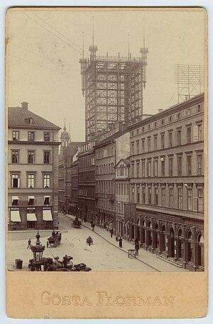 Old Stockholm telephone tower - Image: Stockholm, Brunkebergstorg med telefontornet 1891 Nordiska Museet NMA.0000293