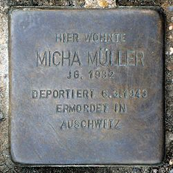 Photo of Micha Müller brass plaque