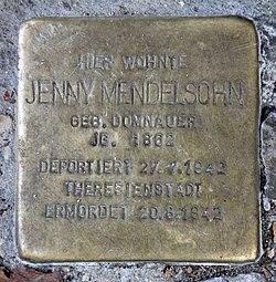 Photo of Jenny Mendelsohn brass plaque