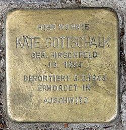 Photo of Käte Gottschalk brass plaque