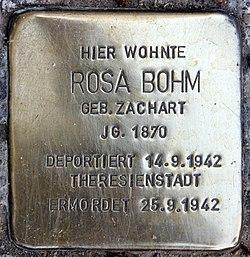 Photo of Rosa Bohm brass plaque