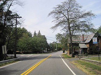Stone Church, New Jersey - Center of Stone Church, the All Saint's Memorial Church is on the right