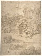 Story of Arethusa by Francesco Primaticcio, pen, ink, brush and washes