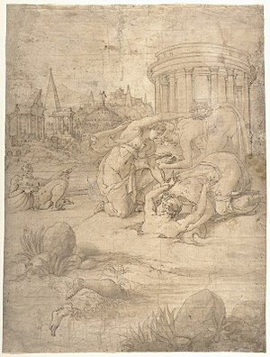 Alpheus (deity) - Image: Story of Arethusa by Francesco Primaticcio, pen, ink, brush and washes