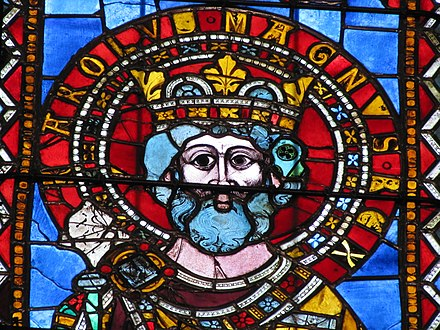 13th-century stained glass depiction of Charlemagne, Strasbourg Cathedral StrasbourgCath BasCoteN 09.JPG