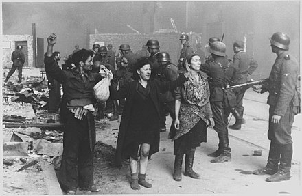 This photograph, from the Stroop Report, shows captured fighters in the Warsaw Ghetto Uprising. Stroop Report - Warsaw Ghetto Uprising 08.jpg
