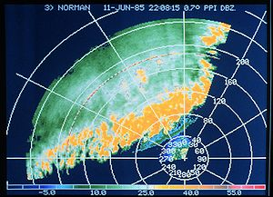 Plan position indicator - Image of a thunderstorm line (in dBZ) seen on a 0.7-degree elevation PPI (NOAA)