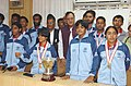 Sunil Dutt with the members of the Indian Roller skating Squad which represented the country at the 11th Asian Roller Skating Championship held at Jeonju.jpg