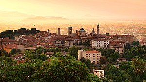 The iconic skyline of the walled city of Bergamo