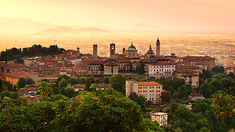 Bergamo - The iconic skyline of the walled upper city of Bergamo