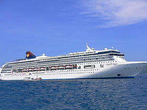 Star Cruises - Star Cruises' largest ship, SuperStar Virgo, lying at anchor near Phuket, Thailand
