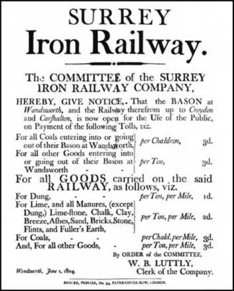 Surrey Iron Railway - Notice of tolls, 1804.