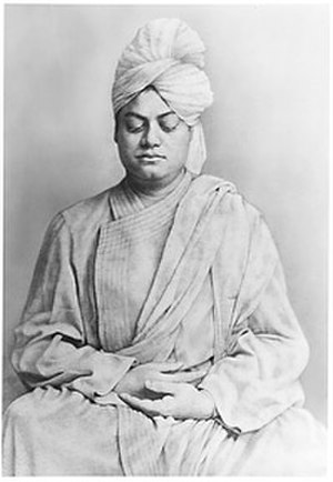 Dhyana in Hinduism - Swami Vivekananda in meditating yogic posture.