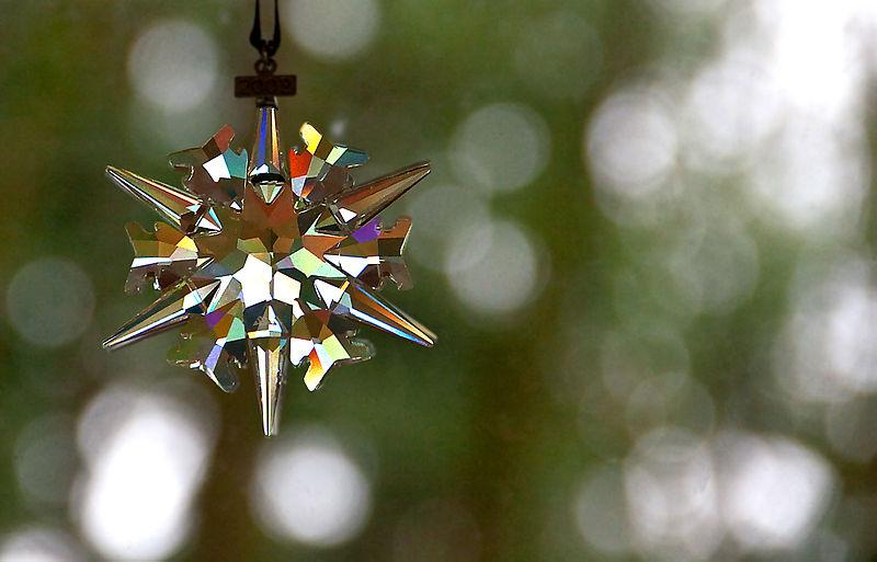 Swarovski ornament in afternoon sun