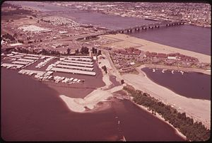 Hayden Island, Portland, Oregon - Bird's-eye view of Hayden Island and the Interstate Bridge in June 1973.