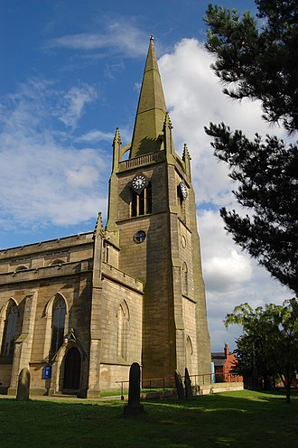 Tyldesley - West end and spire of St George's Church