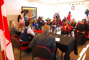 Teslin Tlingit Council - TTC Administration of Justice Press Conference. Then Chief of TTC Peter Johnston, with past Yukon Premier Dennis Fentie and Canadian Federal Minister for Indian and Northern Affairs, John Duncan at the Teslin Tlingit Heritage Centre, Teslin, Yukon.