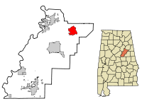 Talladega County Alabama Incorporated and Unincorporated areas Munford Highlighted.svg
