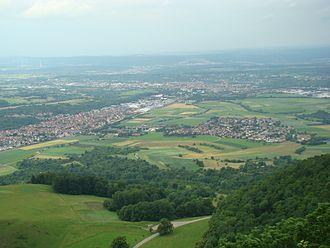 Dettingen unter Teck - View from the Teckberg of Dettingen and Kirchheim