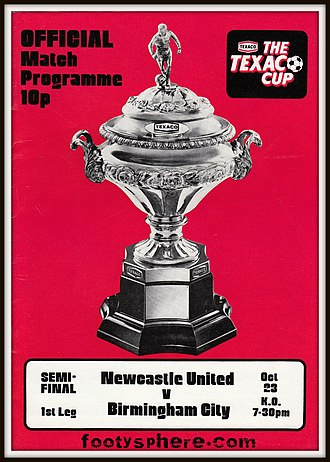 Texaco Cup - Programme for the 1974–75 Texaco Cup semi-final between Newcastle United and Birmingham City