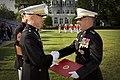 The 35th Commandant of the Marine Corps, Gen. James F. Amos, left, shakes hand with Gen. George J. Flynn during Flynn's retirement ceremony at Marine Barracks Washington in Washington, D.C., May 9, 2013 130509-M-LU710-206.jpg