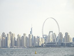 The Ain Dubai observation wheel from the sea, Dubai