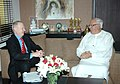 The British Minister of State for Energy and Climate Change, Lord Hunt of Kings Heath OBE calls on the Union Minister of New and Renewable Energy, Dr. Farooq Abdullah, in New Delhi on October 21, 2009.jpg