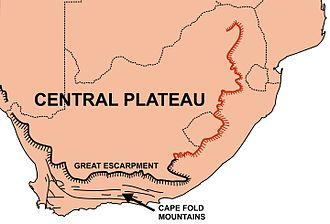 Cape Fold Belt - A map of South Africa showing the central plateau edged by the Great Escarpment and its relationship to the Cape Fold Mountains in the south. The portion of the Great Escarpment shown in red is known as the Drakensberg.