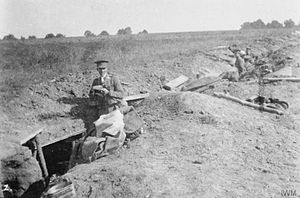 "4th Infantry Division (United Kingdom) - Troops of the 1st Battalion, King's Own (Royal Lancaster Regiment) in the front trench at St. Marguerite, 22nd September 1914. The officer is Second Lieutenant R. C. Matthews, probably the CO of ""A"" Company."