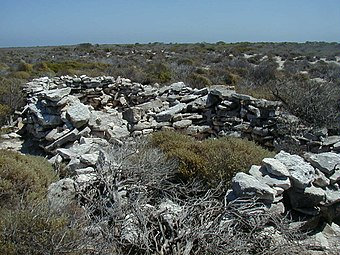 The Wiebbe Hayes Stone Fort on West Wallabi Island is the first known European structure to be built on the Australian continent. The Fort - West Wallabi Island - Colour.JPG