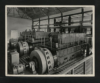 English Electric - Three English Electric 7SRL Diesel alternator sets being installed the Saateni Power Station, Zanzibar 1955