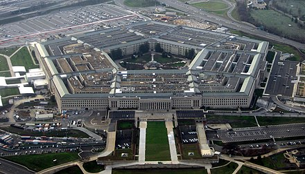 The Department of Defense is headquartered in Arlington at the Pentagon, the world's largest office building. The Pentagon January 2008.jpg