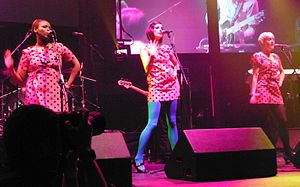 The Pipettes - Ani, Gwenno and Beth performing at Turning Point Roundhouse in 2009.
