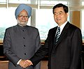 The Prime Minister, Dr Manmohan Singh meeting with the President of the People's Republic of China, Mr. Hu Jintao, on the sidelines of G-8 Summit at Berlin in Germany on June 07, 2007 (1).jpg