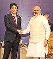 The Prime Minister, Shri Narendra Modi and the Prime Minister of Japan, Mr. Shinzo Abe at the India-Japan Business Leaders Forum, in New Delhi on December 12, 2015 (1).jpg
