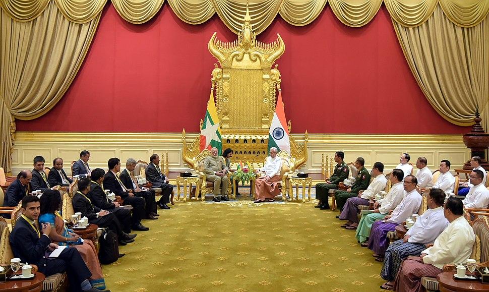 The Prime Minister, Shri Narendra Modi meeting the President of Myanmar, Mr. U. Htin Kyaw, at Presidential Palace, in Nay Pyi Taw, Myanmar on September 05, 2017 (2)