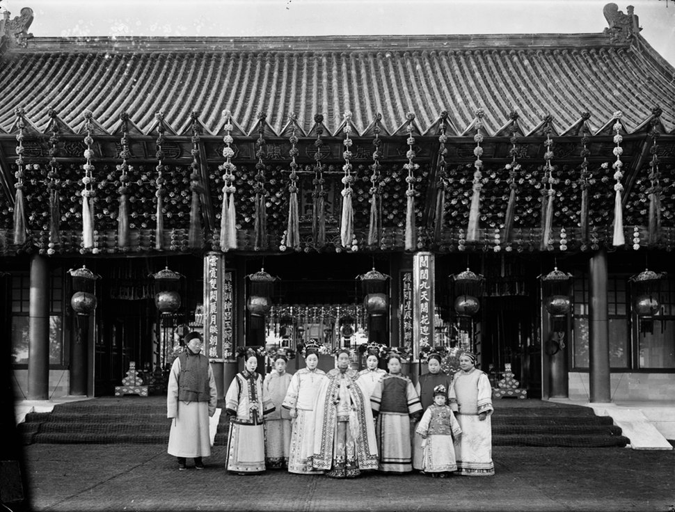 The Qing Dynasty Cixi Imperial Dowager Empress of China with Attendant