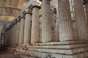 The Temple of Apollo Epikourios at Bassae, east colonnade, Arcadia, Greece (14087181020).jpg