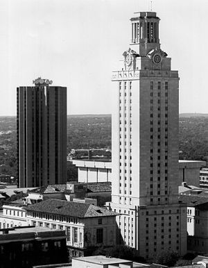 Main Building (University of Texas at Austin) - The Main Building in the foreground, c. 1980