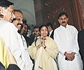 The Union Minister for Railways, Km. Mamata Banerjee arrives Parliament House to present the Rail Budget 2011-12, in New Delhi on February 25, 2011 (1).jpg