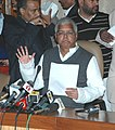 The Union Minister for Railways, Shri Lalu Prasad briefing the media after presentation of the Interim Railway Budget 2009-10, in New Delhi on February 13, 2009 (1).jpg