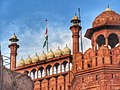 The flag of India at half-mast hoisted on THE RED FORT at the time of national mourning.jpg