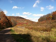The Great Allegheny Passage in fall view of wind turbines